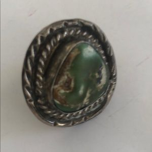 Vintage silver green turquoise Ring Sz5 1/4 native